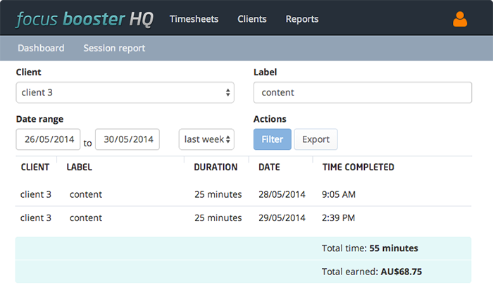 The session report in HQ allows you to export CSV of all types of filtered data; date, client and label